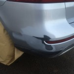 Rear bumper has been sanded down to remove damage